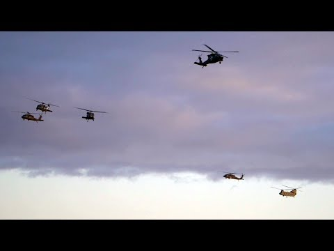 US Military Helicopters Arrive At Katterbach Army Airfield In Ansbach, Bavaria, Germany
