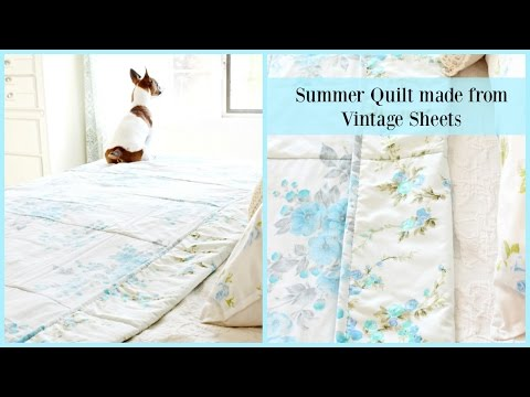 Summer Quilt made from Vintage Sheets