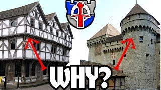 Why do medieval buildings overhang their lower floors?