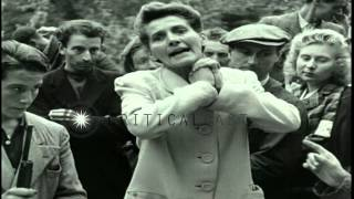 Women collaborators tried and their heads shaved as a punishment in suburb of Par...HD Stock Footage