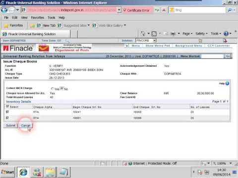 India Post Finacle Video - Issue of Chequebook.wmv