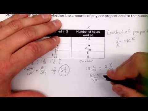 Checking for constant of proportionality with a table