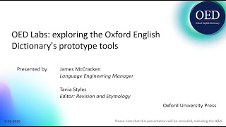OED Labs: exploring the Oxford English Dictionary's prototype tools