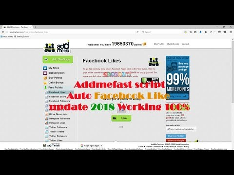 Addmefast Script Auto Likes Facebook updated 2018 Working 100%
