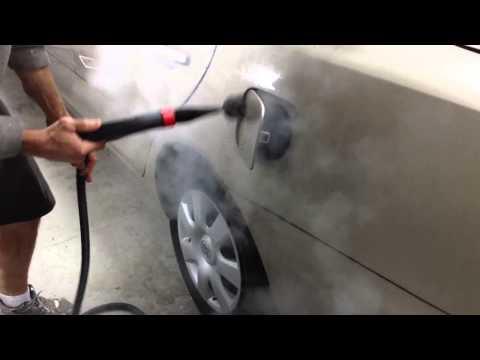 Vapor chief steamer cleaning gas tank door