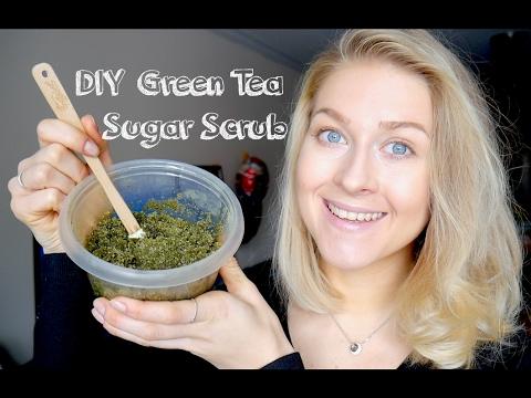 DIY Green Tea Sugar Scrub Recipe. Exfoliating & Nourishing.