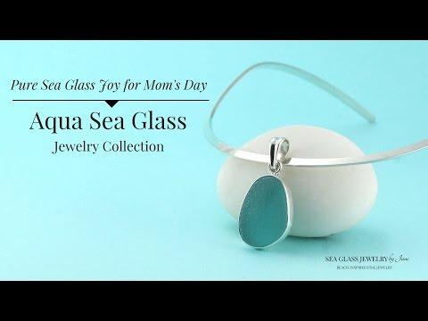 Aqua Sea Glass Jewelry for 2017 - Necklaces, Pendants, Bracelets and Earrings