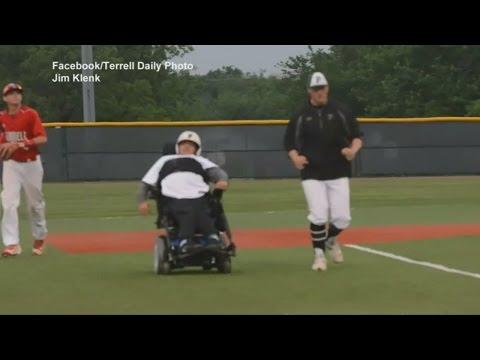 Wheelchair bound student scores a run for high school baseball team