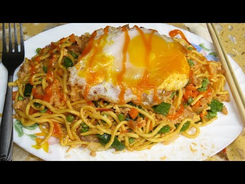 Spicy Stir-fried Noodles With Vegetable Recipe - Khmer Food Cooking