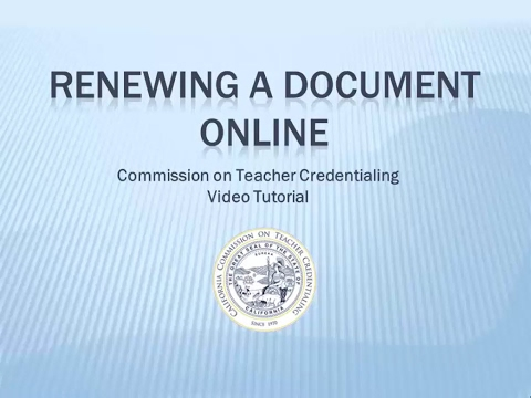 Renewing a Document Online