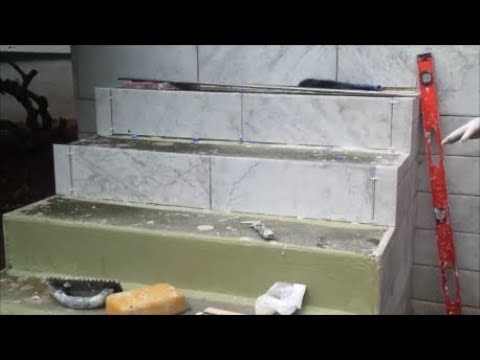 How to Tile An Outdoor Concrete Stairs    Part 1 - Tile The Vertical Side  -  Step By Step