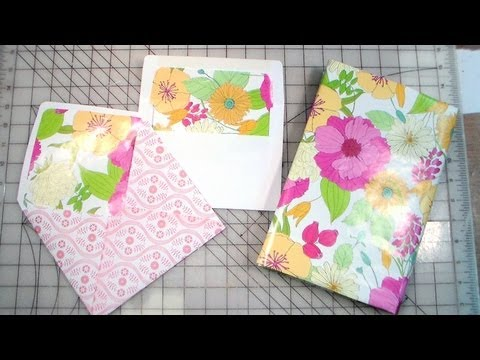 how to cover a textbook & line envelopes with wrapping paper
