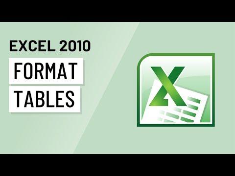 Excel 2010: Formatting Tables