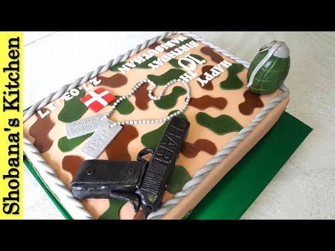 10 th Birthday Cake / Army Cake Decoration Ideas / How To Make Easy Birthday Cake