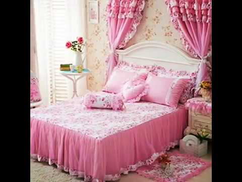 Cute Girl Bed Set 100% Cotton Princess Ruffled Lace Duvet Cover Sets