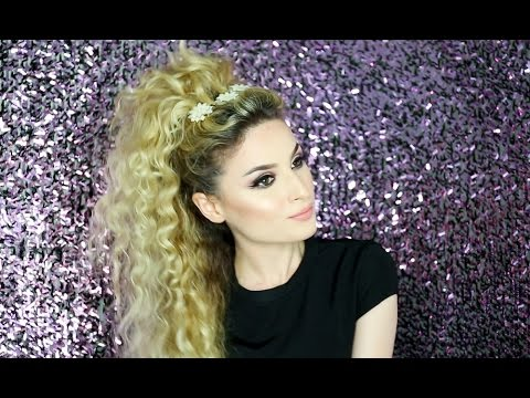 Party hairstyle for curly hair!