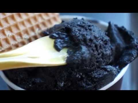Black vanilla ice cream