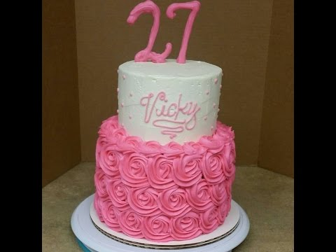 2 Tier Rosette Birthday Cake. Cake Decorating.