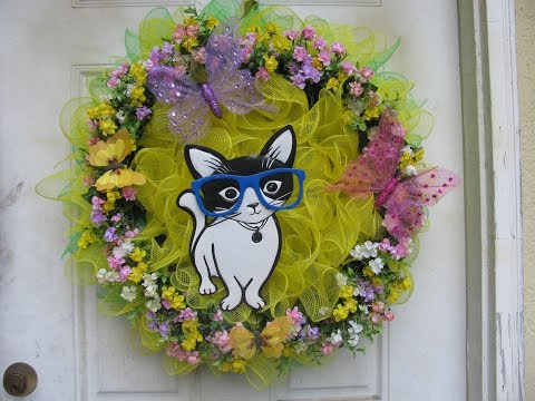 How To Make Ms. Lucy The Kitty Cat Deco Mesh Wreath