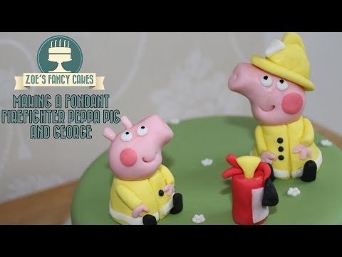 How to make fondant Peppa Pig and George in firefighters uniform How To Tutorial Zoes Fancy Cakes