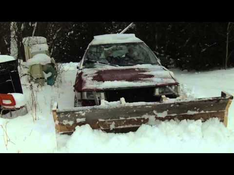 Homemade Wooden Snow Plow on a Toyota Corolla 4x4