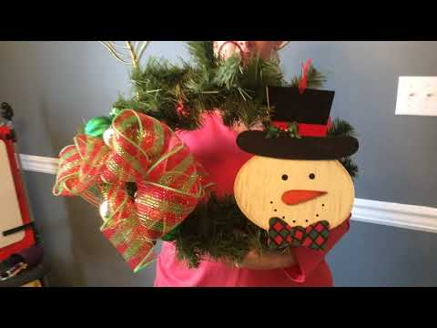 Easy holiday wreath using picks, ribbon and ornaments
