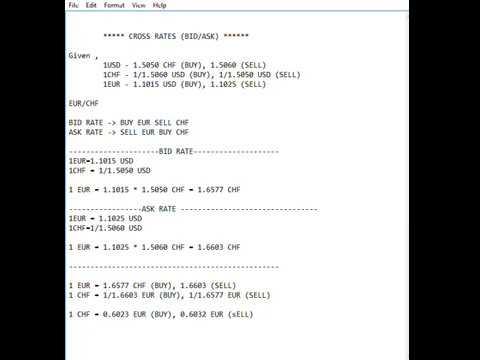 Cross Rate Bid/Ask Rate Calculation
