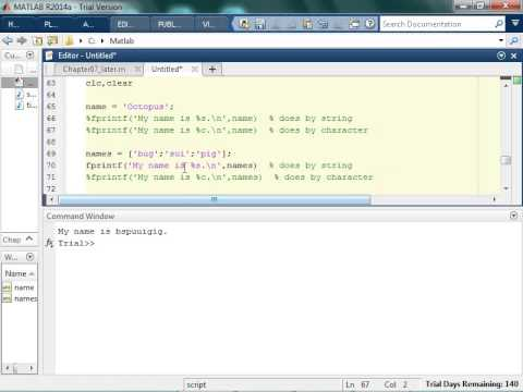 Using fprintf for Characters in Matlab