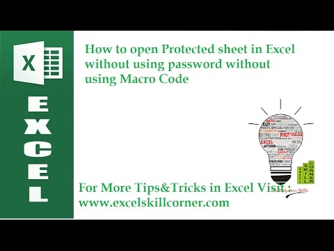 How to open Protected sheet in Excel without using password without using Macro Code