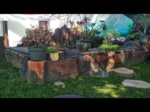 Front Garden Idea With Small Pond & Fountain