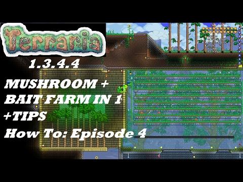 Terraria 1.3.4.4 HOW TO | Build a Mushroom & Bait Farm | Benefits + Setup | Episode 4