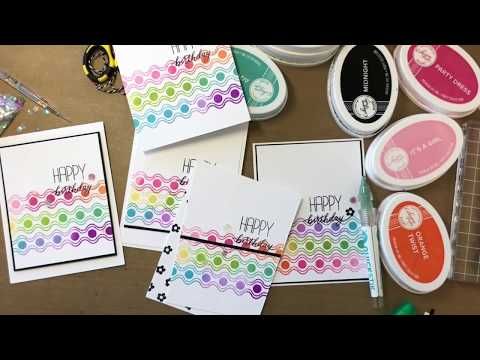 Rainbow Border Stamping Hand Made Birthday Cards
