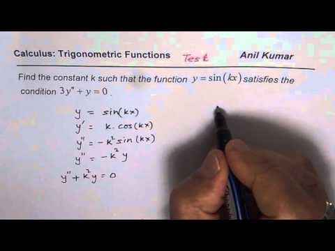 Find the Value of Constant K to Make Differential Equation True