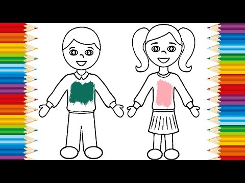 Art Video For Kids Drawing Boy And Girl Teach Coloring Page Babys
