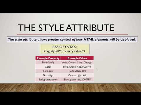 HTML Lesson 5: Attributes and Styles