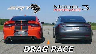 Download DRAG RACE - Dodge Charger SRT Hellcat vs Tesla Model 3 Performance // Throttle House Track Series Video