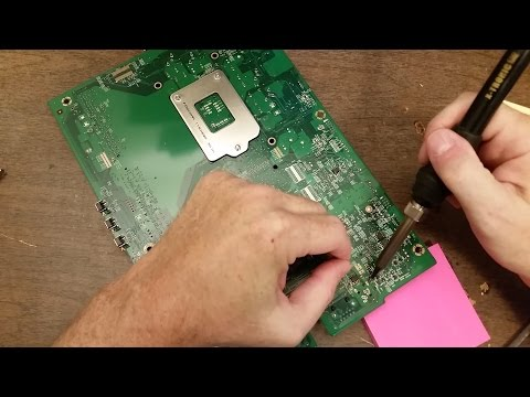 Replacing the DC jack on a motherboard.  Dell Inspiron One 2020