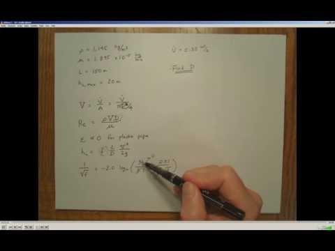 Pipe Flow - Calculating Diameter Example