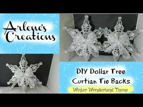 DIY DOLLAR TREE WINTER WONDERLAND CURTAIN TIE BACKS