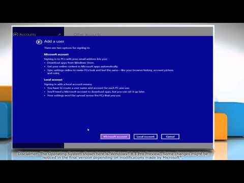 How to Create a Local User Account in Windows® 8.1 Pro Preview