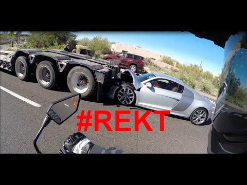 Audi R8 Rear Ends Truck