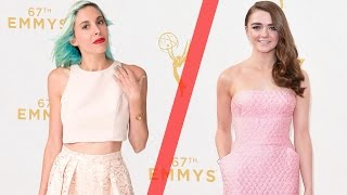 Women Try Emmys Gowns