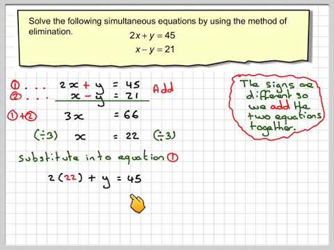 Solving simultaneous equations using the method of elimination 01