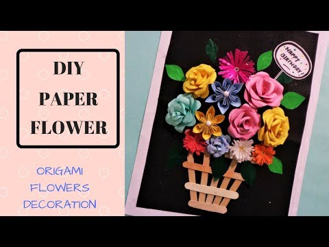 How to Make Origami Flower Card | DIY Paper Flower Decoration