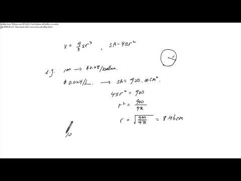 1  Finding Volume of a Sphere given Surface Area, Cost Application