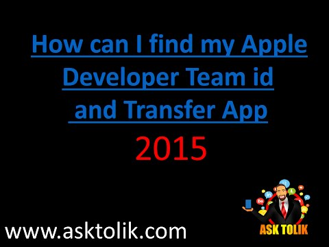 How can I find my Apple Developer Team id and Transfer App