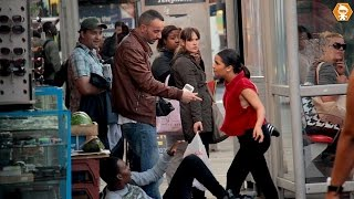 Girl Bullying Boy in Public