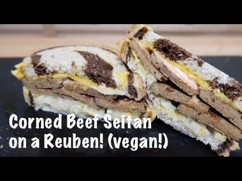 Corned Beef Seitan on a Reuben! (vegan!)
