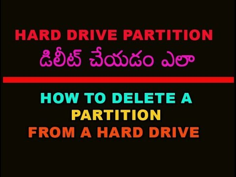 How to Delete a Partition from a Hard Drive Telugu