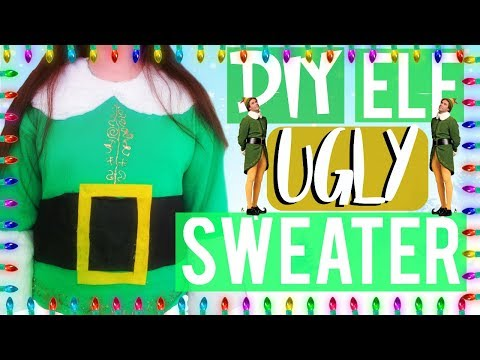 DIY Elf Buddy inspired ugly sweater (NO SEW)